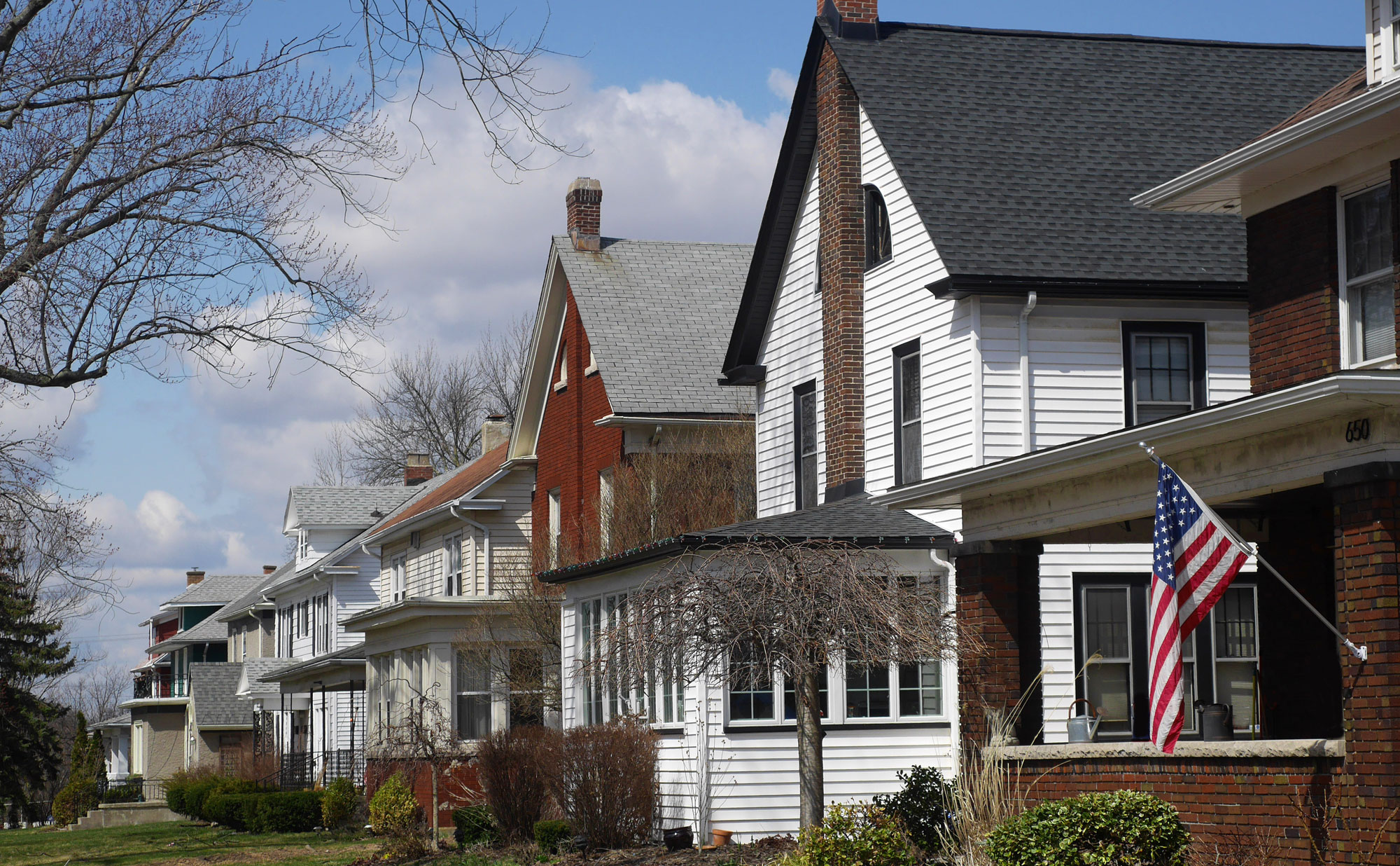 Row of houses in early spring